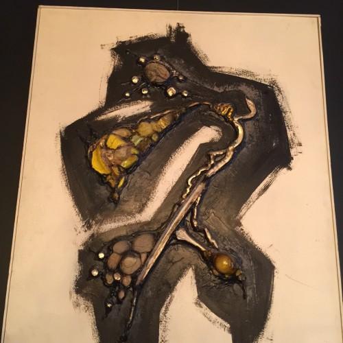 Gilbert AUQUIERE (1926-2007) - Composition technique mixte sur panneau - 1960s