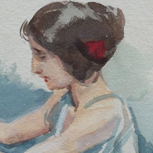 Dressmaker Watercolor - Charles Hermans - circa 1900