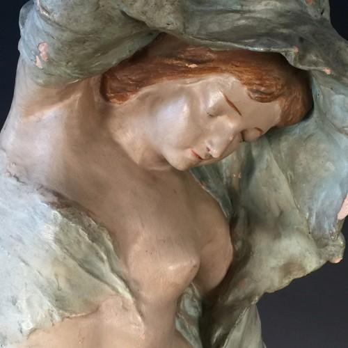 """Adelaide Lefebvre Maeterlinck Sculpture Art Nouveau """"La Nuit"""" - Plâtre Atelier 1888"""