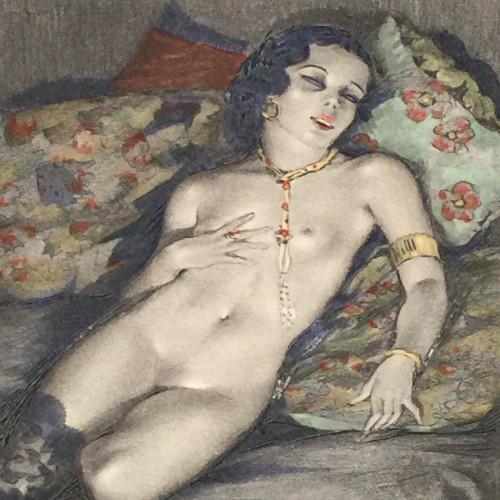 Edouard Chimot Engraving - Bromoil - Aquateinte Erotique Orientaliste - Circa 1910