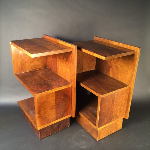 Pair of Art Deco Walnut Chevets