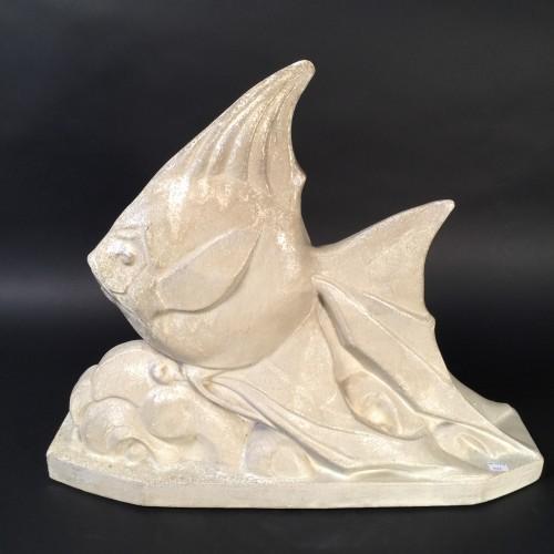 Big Art Deco Fish Earthwear Sculpture M. Detombay - Circa 1935