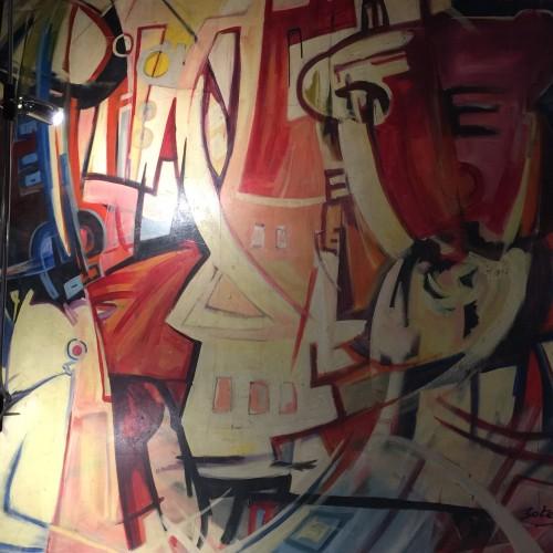 Roger Botembe 1992 - Grande huile sur toile 2m x 2m