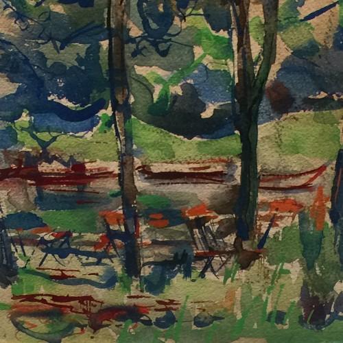 """Flory Roland, gouache sur papier """"Terrasse en sous-bois"""" - vers 1940"""