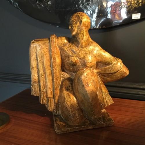 Jean Canneel - Sculpture Cubiste Art Déco d'une femme au drapé - Plâtre d'atelier - Circa 1920