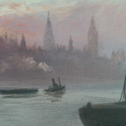 "George Hyde Pownall (1866-1939) ""The River Thames with a steamer, Big Ben in the distance"" Pre-Raphaelite Impressionist Oil Painting, signed lower right ""Geo. Hyde Pownall, within his ebonised original frame"