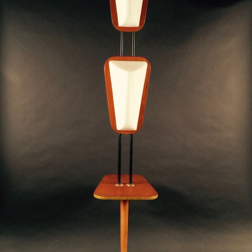 """REGGIANI Goffredo """"LARGE FLOOR LAMP"""" - Large lacquered metal, mahogany and opaline lighting - Design Italy 1960"""