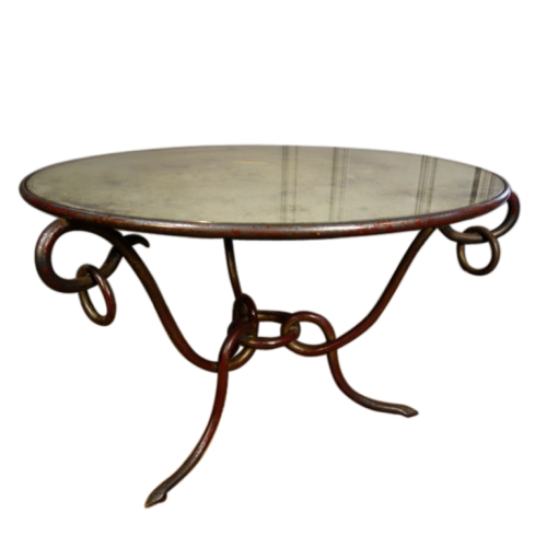 René Drouet, Art Déco wrought iron coffee table, gold and bordeaux patina, 1940