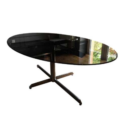Florence Knoll, large oval chromed metal table, Roche Bobois edition, 1970