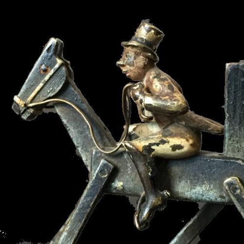 Bronze de Vienne articulé / à mécanisme - Jockey Cavalier Cheval - Fin XIXème siècle ou début XXème - Sculpture miniature polychrome de Franz Xaver Bergmann (1861-1936)