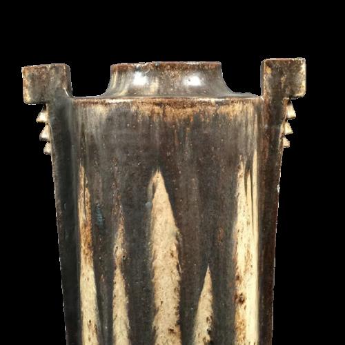 Edgard Aubry - Important Earthware Sandstone Art Deco Vase, Unique Piece, ca 1925