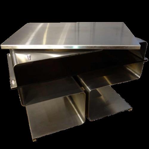 François Monnet ( Kappa ), Swivel stainless steel coffee table, circa 1970