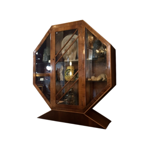 Hexagonal Art Deco Walnut Showcase - Circa 1930 - Perfect State