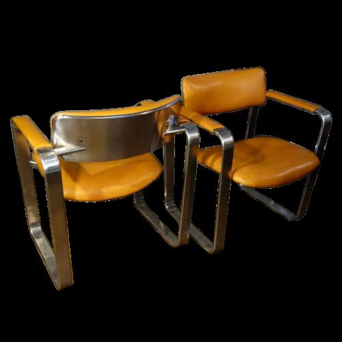 "Eero Aarnio ""Executive"" Mobel Italia, pair of metal / leather armchairs, 1968"