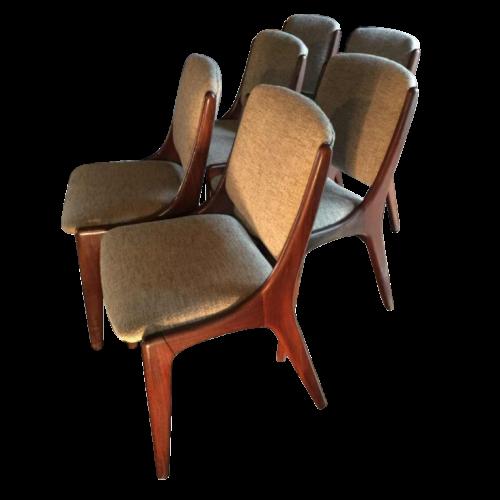 Mahjongg Vlaardingen Holland, Set of 6 Scandinavian Teak Design chairs, 1965