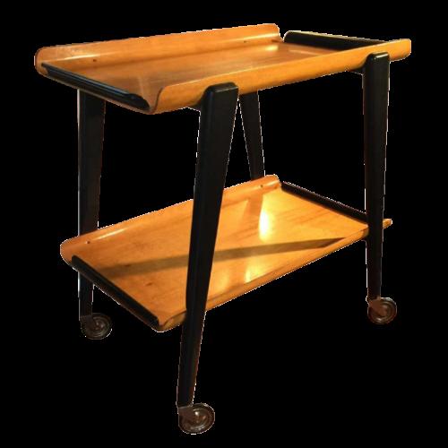 "vintage rolling table, type expo 58, edition ""Bois Manu"", Belgium, circa 1960."