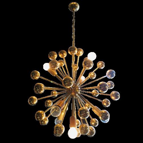 """Golden sputnik chandelier with balls, Issuer """" Cosack Leuchten """", circa 1970"""