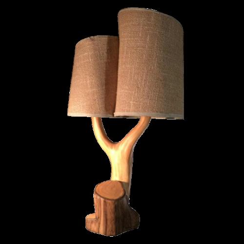"""Grandjean Jourdan Vallauris, ceramic table lamp """"faux-bois"""", circa 1960"""
