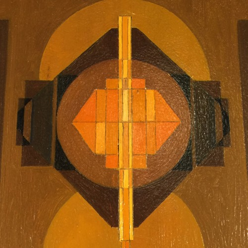 """Jean Boquet """"Geometric Abstraction"""", painting, oil on panel, circa 1945/50"""