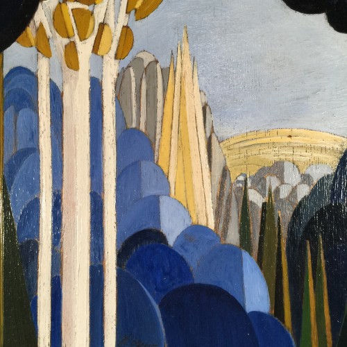"Jean Boquet ""Blue Mountains"", modernist geometric painting, circa 1945"