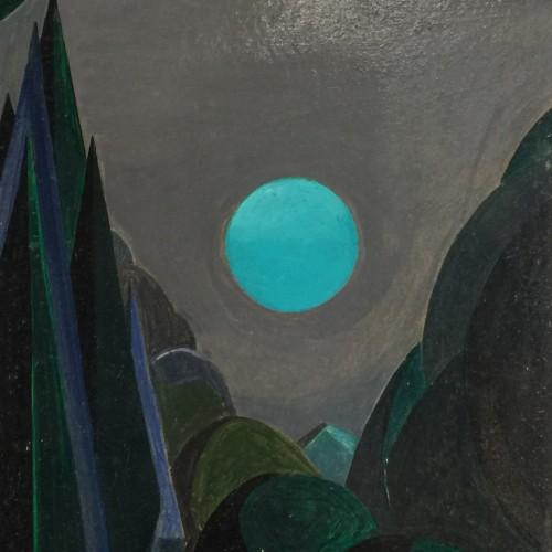 "Jean Boquet ""Turquoise Mountains"" geometric modernist painting, circa 1945"