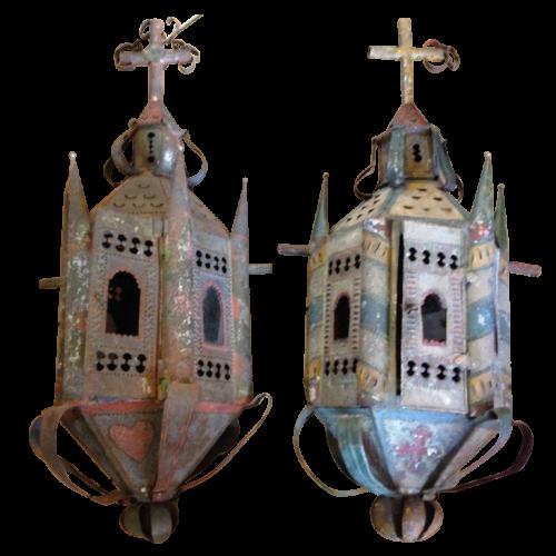 2 italian procession's lanterns, painted sheet, 18ème siècle