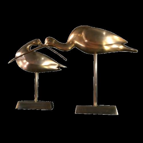"Set of 2 birds wading brass ""ibis"" vintage, circa 1970"