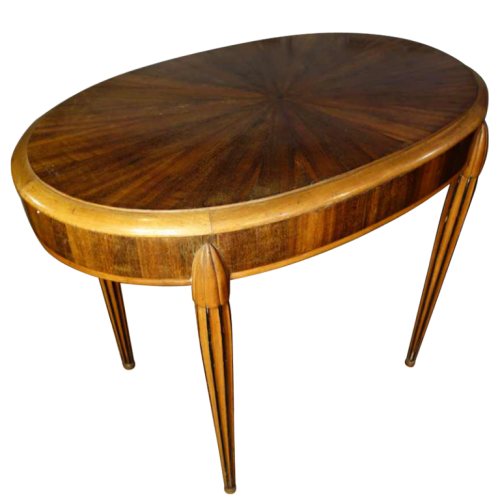 Art Deco Side / Coffee oval Table, star inlaid, Style Sue & Mare Circa 1920
