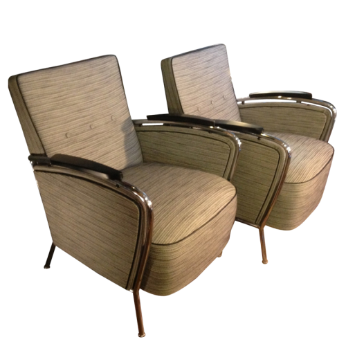 "Pair of Armchairs ""Expo 58"" - style of Jindrich Halabala - circa 1950"