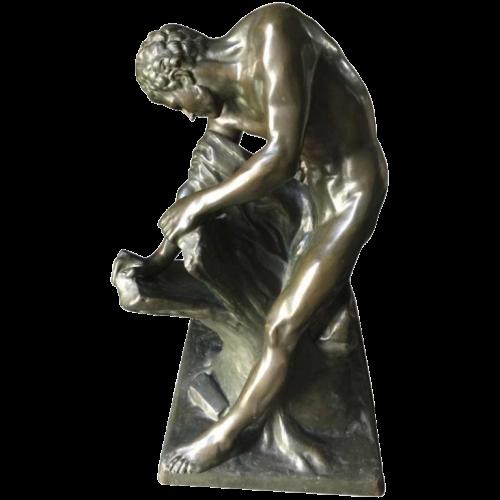 """Edme Dumont """"Milon de Crotone"""", important sculpture bronze 74cm, 19th century"""