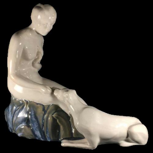 """ nude woman with dog "", Art Deco ceramic sculpture, earthenware (craquelé) - circa 1930"