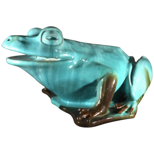 Clement Massier, Golfe Juan Alpes Maritimes ( Vallauris ), rare and huge ceramic frog forming fountain, circa 1900