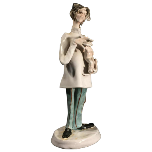 Italian doctor sculpture, obstetrician gynecologist pediatrician 1970