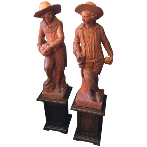 "Gardeners "", pair of large terracotta sculptures, 19th century"