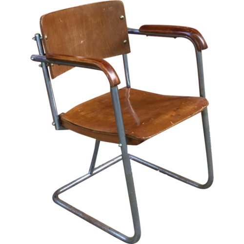 Modernist armchair in the style of Marcel Breuer plywood, screwed steel tubes, 1930