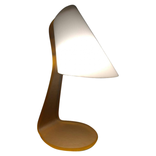 Table lamp / desk, frosted opal glass and brass, circa 1970
