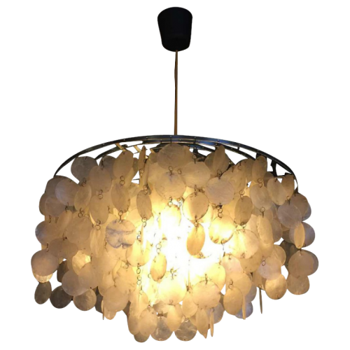 "Verner Panton, chandelier "" Fun "" 10DM "" for J. Lüber AG, mother of pearl, 1964"