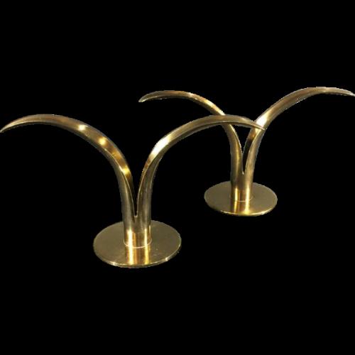 "Ivar Alenius-Bjork "" Lily "" for Ystad Metall, pair of brass scandinavian candlesticks, 1940"