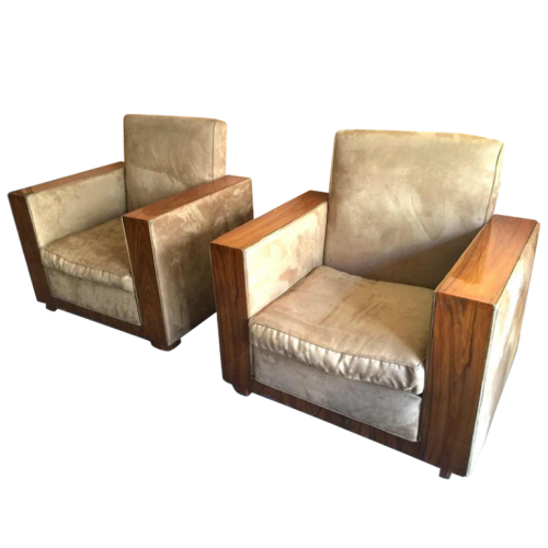 Pair of Modernist Cubist Art Deco Clubs / Armchairs, Alcantara & Walnut, circa 1930