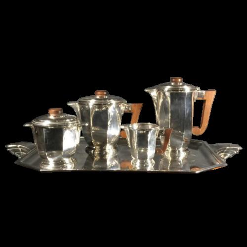 Ravinet d'Enfert (Paris), Art Deco Coffee Tea set, silvered metal, 1930