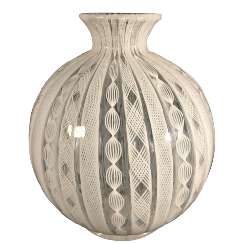 Fulvio Bianconi, Venini Murano Glass, Zanfirico filigree white ball vase, 1950/60