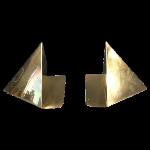 """Prism"", pair of bookends, design Cubist Modernist, brass, circa 1940"