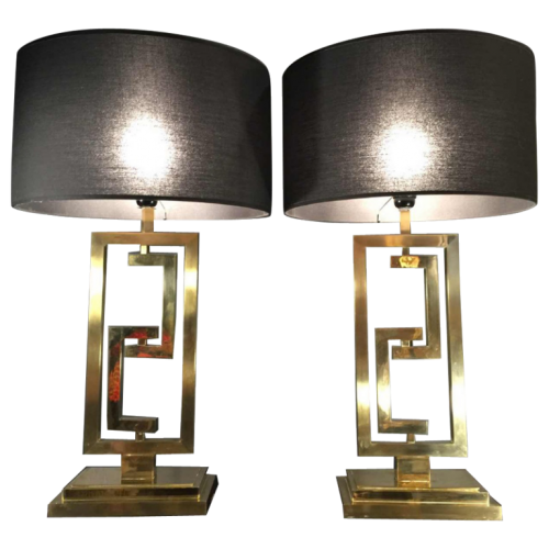 Willy Rizzo or Romeo Rega, pair of modular table lamps, golden brass, 1970 '
