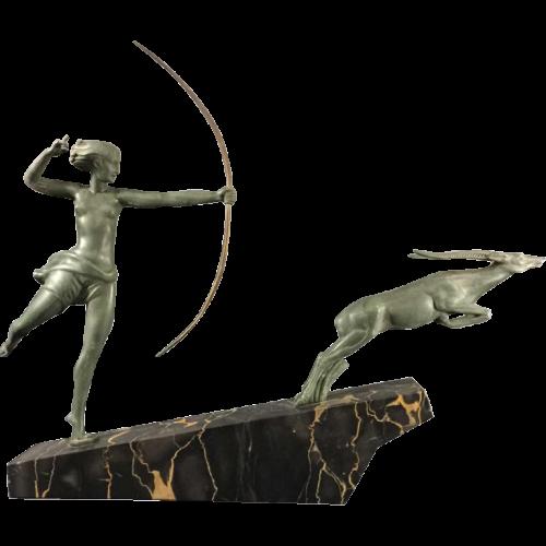 """DEMARCO - Max Le Verrier """"Diane Chasseresse"""", Art Deco woman & antilop sculpture, 1935"""