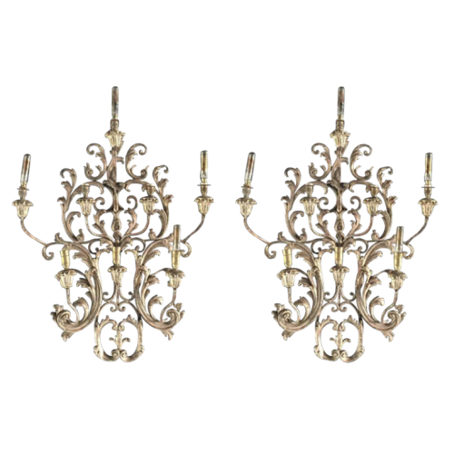 Pair of large Louis XV rocaille Italian wall sconces, silver stuccoed wood 77cm, circa 1930