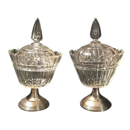 Vonèche ( Val-Saint-Lambert ) or Zoude, pair of crystal drageoirs, silver feet, circa 1850