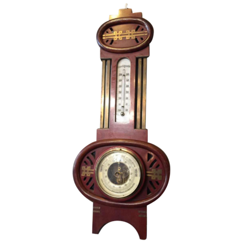 Art Nouveau / Arts & Crafts barometer thermometer, mahogany / brass, circa 1905
