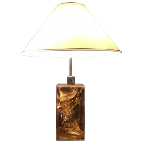 "Willy Rizzo, table lamp PRISM "" rock crystal "", resin & silvered bronze, circa 1970"