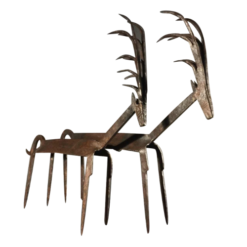 "Bamana Bambara Mali "" couple antelopes "" wrought iron metal sculpture, Early 20th century"