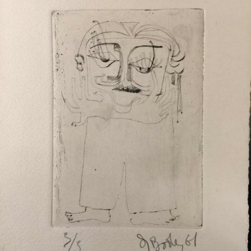 """Anne Body """" Quand on a perdu la tête """" gravure numérotée 3/3, signée et datée 1961"""